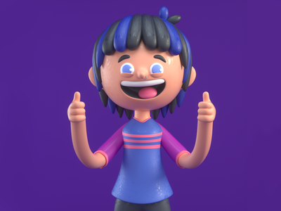 HAPPY GIRL emotions girl person design render c4d illustration character 3d
