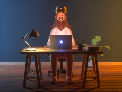King working working king person design render c4d illustration character 3d