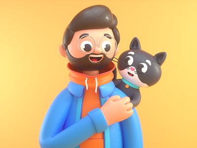 CAT & HUMAN love pet cat man person design render c4d illustration character 3d