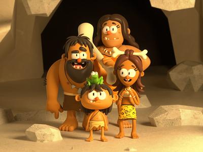 CAVEMAN family caveman person design render c4d illustration character 3d