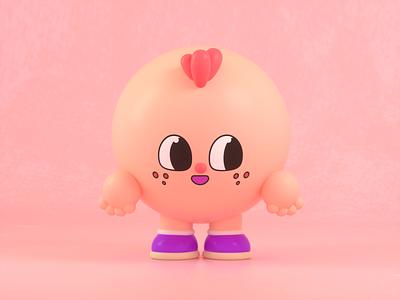 Cute character pink friend design render c4d illustration character 3d
