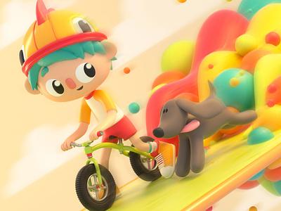 Friends children bike pet dog friends design render c4d illustration character 3d