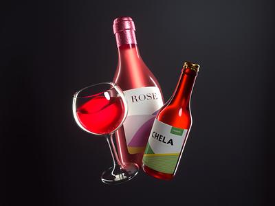 DRINKS icon drink wine beer design render c4d illustration 3d
