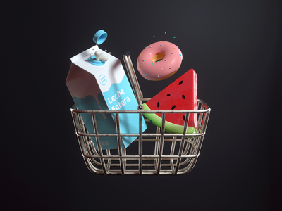 Market market watermelon donut milk icon app design 3d c4d illustration