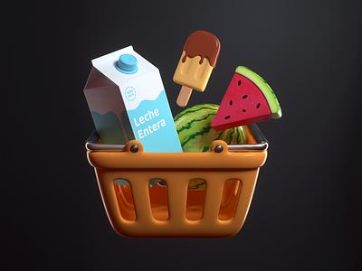 Market icon app watermelon milk market design render c4d illustration 3d