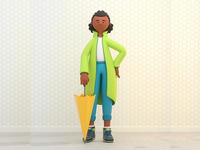 GIRL tourist umbrella girl person design render c4d illustration character 3d