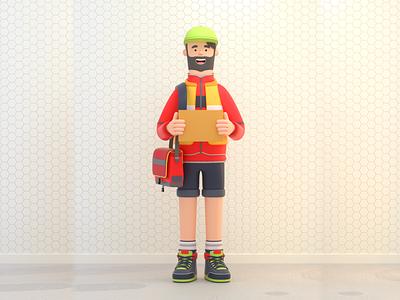 POSTMAN box postman man person design render c4d illustration character 3d