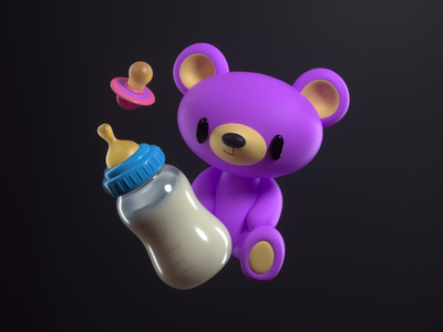 TEDDY cute teddy baby icon design render c4d illustration character 3d