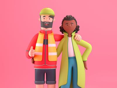 Friends tourist postman firend design render c4d illustration character 3d