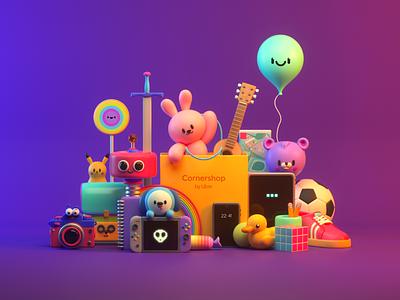 SHOP funny market shop teddy toys monster design render c4d character illustration 3d
