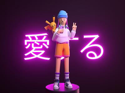 Geek Pikachu people japanese pokemon pikachu geek girl render design character illustration c4d 3d