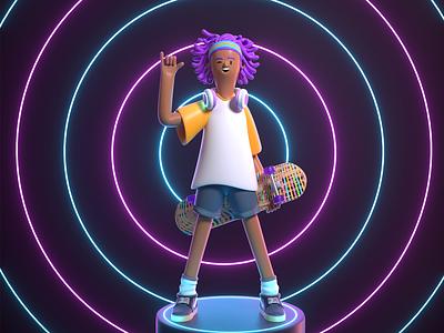 skate girl girl skateboard skate design render c4d character illustration 3d