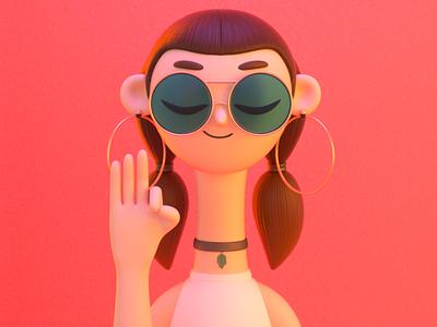 Girl with glasses zen glasses fashion girl design render c4d character illustration 3d