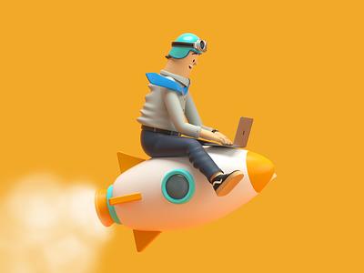 ROCKET BUSINESS rocket design render c4d illustration character 3d