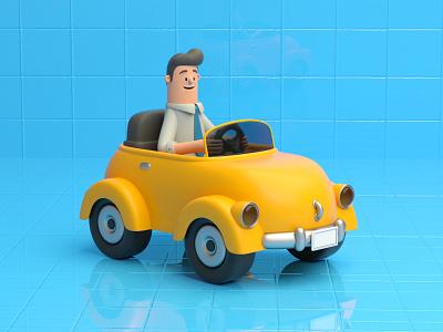 DRIVE MY CAR driving car design render c4d illustration character 3d