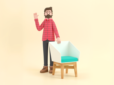 Carpenter chair carpenter design render c4d illustration character 3d