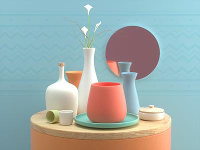 STILL LIFE stilllife ceramic things design render c4d illustration 3d