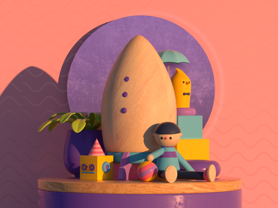 WOOD TOYS wood toy design render c4d illustration character 3d