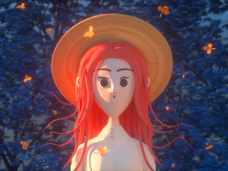 SUNSET tangerine girl sunset person design render c4d illustration character 3d