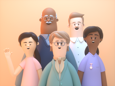 Friendly People happy people girl man person design render c4d illustration character 3d