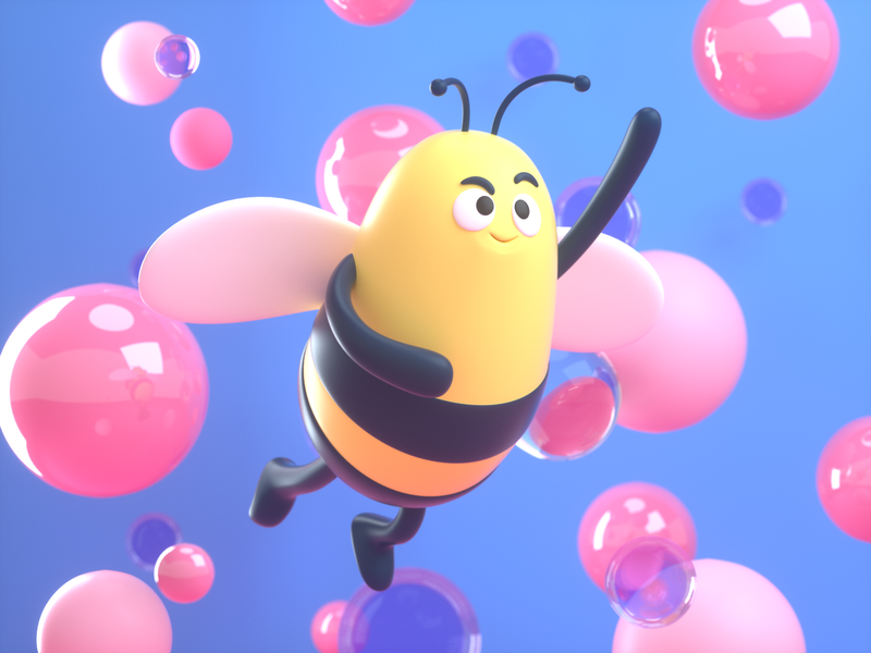 Bee for Hong Kong fun friendly bee design render c4d illustration character 3d