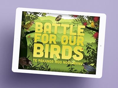 Battle for Our Birds - Department of Conservation app ui illustration design