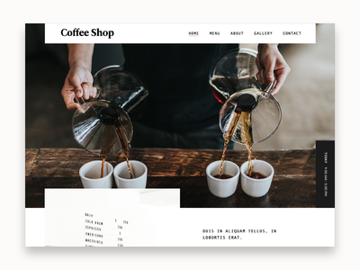 Coffee Shop restaurant cafe coffee minimal simple landing typography web design website
