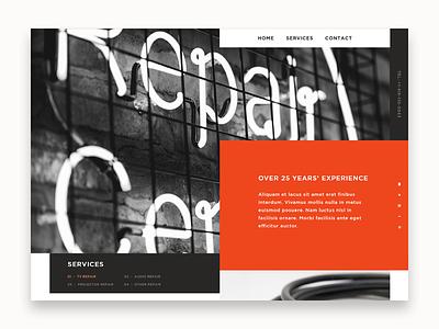 Electronics Repair repair services repair electronic minimal simple landing typography web design website