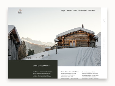 Winter Cabin travel vacation cabin winter minimal simple landing typography web design website