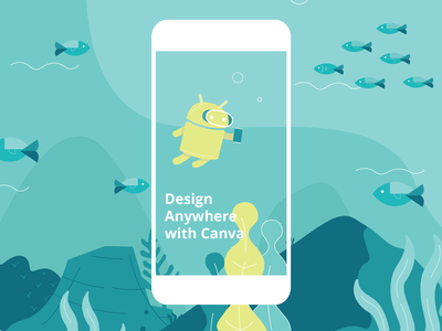 Canva Android shirt design vector corals ocean fish android design canva illustration
