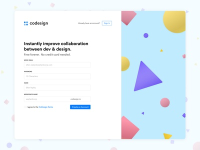 Codesign Signup Page