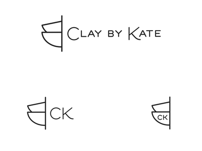 Clay by Kate logo black and white simple modern artist logo design brand identity mark logo
