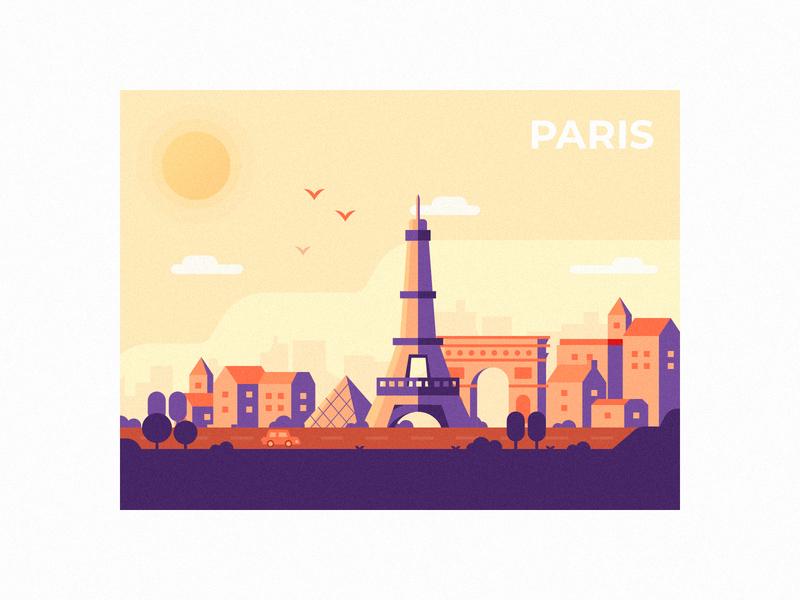 Dusk In Paris color louvre eiffel tower city trip tour travel france paris illustraion