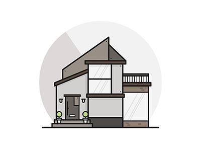 My imaginary house city shade circle icon flat house vector modern illustration design