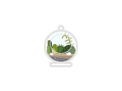 Terrarium icon flat plant nature illustration vector terrarium