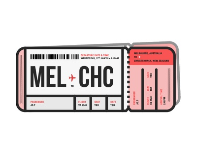 Can't wait! illustration australia melbourne new zealand travel boarding pass air ticket
