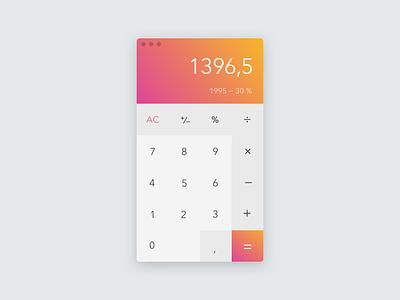 Daily UI 004 - Calculator UI Design challenge light orange pink concept gradient design ui calculator