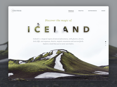 Travel to Iceland - Landing Page typography landing minimal iceland travel light design interface ui