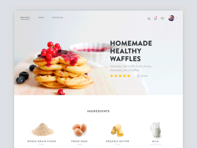 Light & Clean Recipe Page food bakery recipe minimal ui clean fruit colorful cooking waffle modern typography