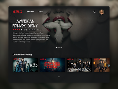 Netflix TV Redesign Concept player show film tv horror dark ui netflix