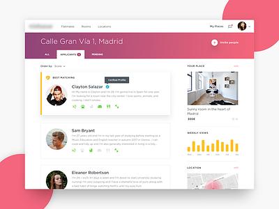 Flatsharing UI web typography ux flat minimal clean app pink color ui dashboard flatsharing