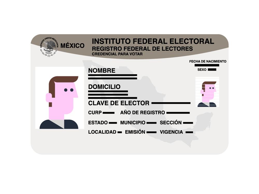 tarjeta INE méxico vector card person identification card