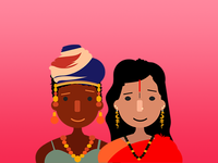 Mujer africana y mujer asiática