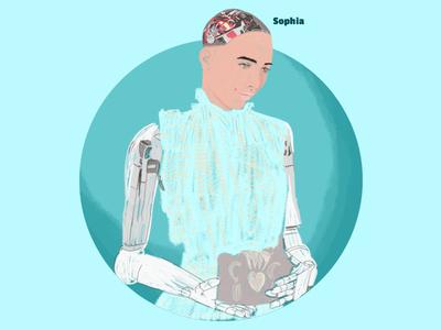 Sophia artificial intelligence woman quick illustration social media brudh illustration robot information technology hanson robotics sophia