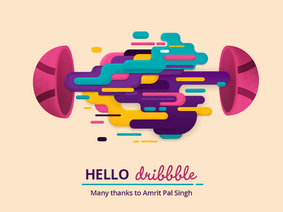 Hello Dribbble! design illustration splash first shot colourful colours ball hello dribble