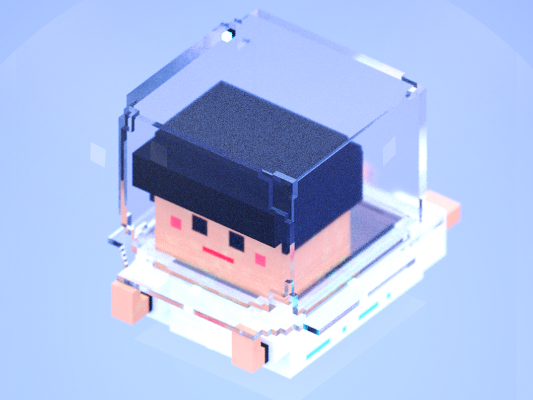 space gold-rose,magicavoxel 3d