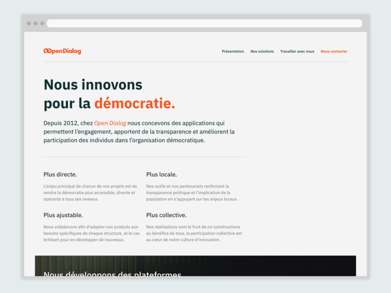Landing page Open Dialog ui design ui site launch website site landing page design landing page landing frenchtech french democracy civictech design