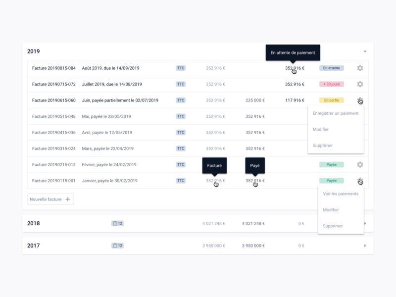 Billing tracking invoice ux card design table product design product ux design ui design proptech frenchtech card real estate datavisualization data dashboard design dashboard ui dashboard list ui design