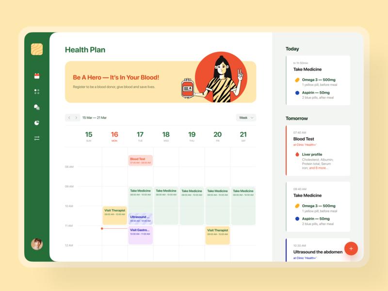 🍋Health Plan — Dashboard tablet pill reminder reminder health donor donation donate blood calendar planner medicine design art appointment app medtech healthcare artwork ui illustration