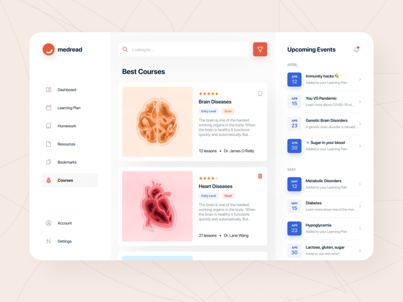 🧠 Medical learning platform healthcare artwork lecture search app ui art med cut out course courses education medtech medical knowledge learning disease heart brain